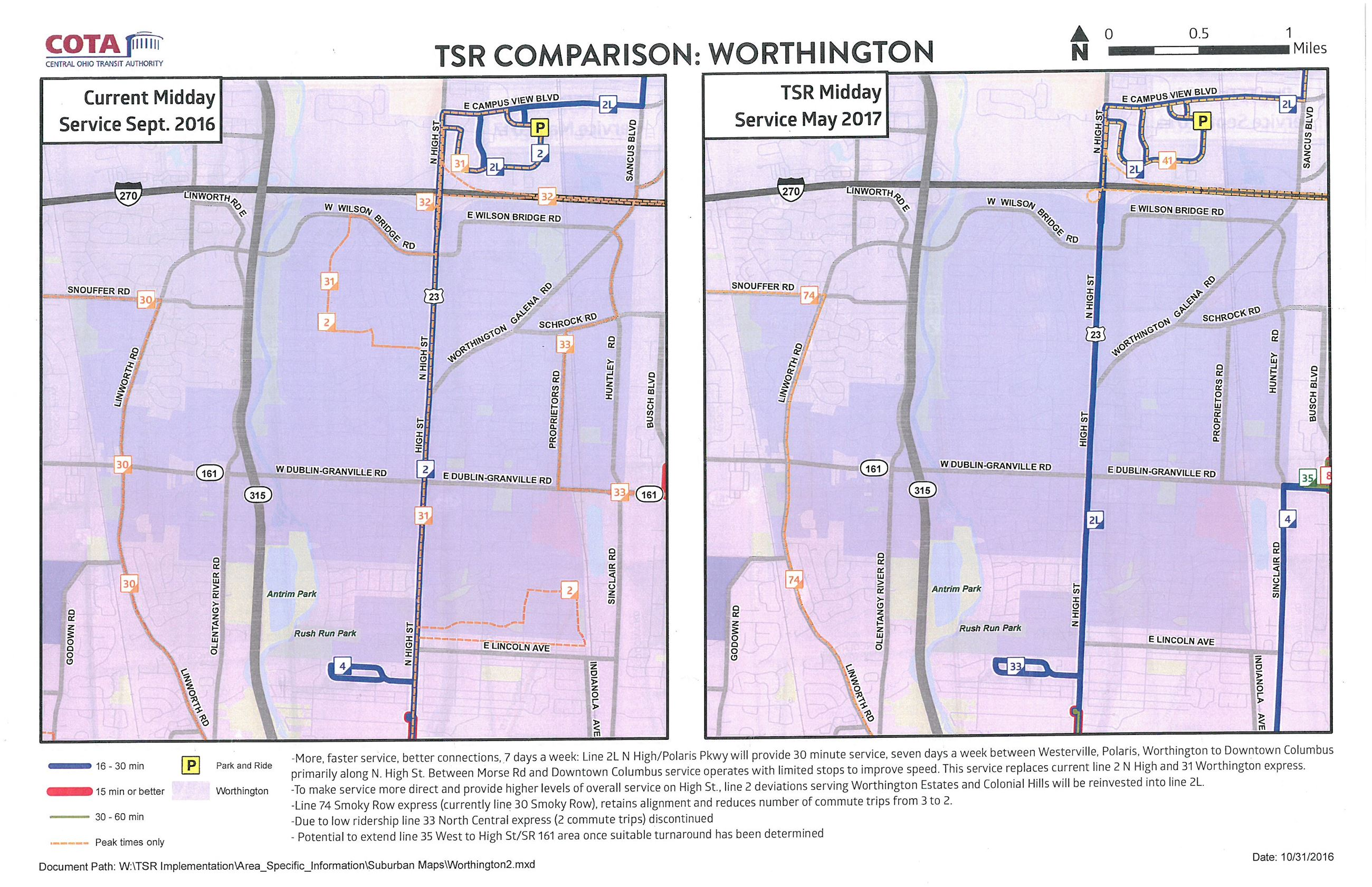 COTA/TSR Worthington changes