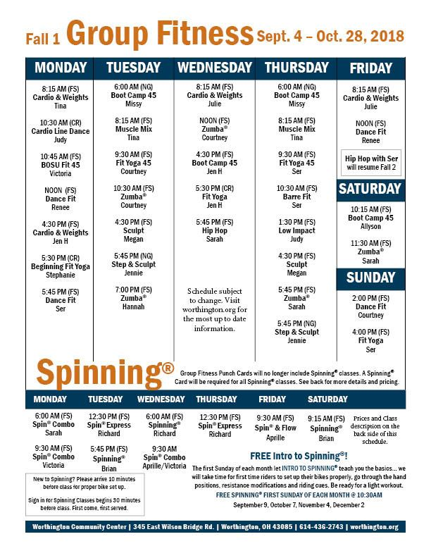 Fitness schedule fall 1 2018_9.7