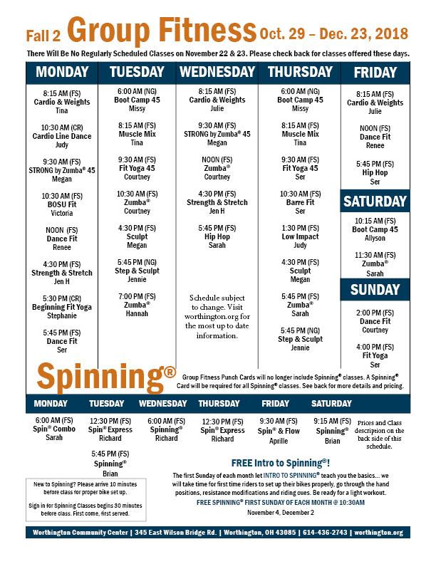 Fitness schedule Fall 2 11-16