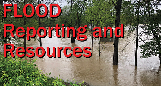 Flood Reporting and Resources graphic