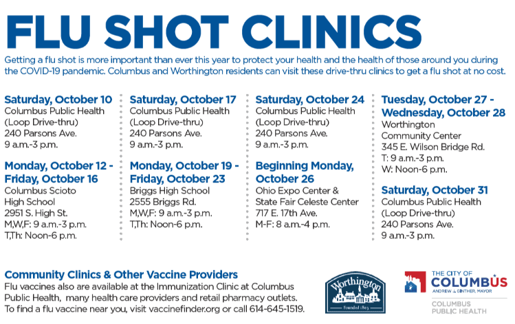Flu shot schedule graphic