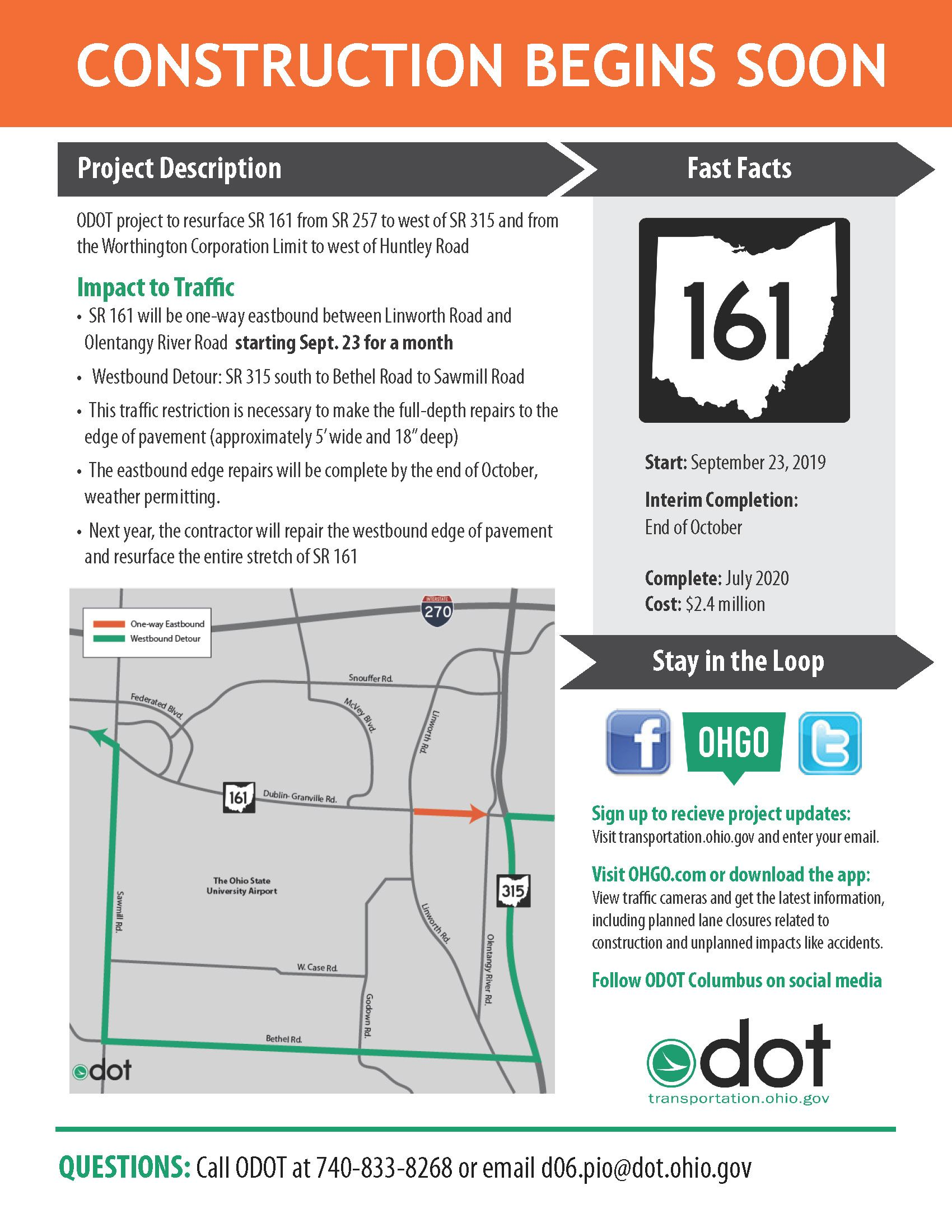 SR 161 Start of Construction with 9-23 date