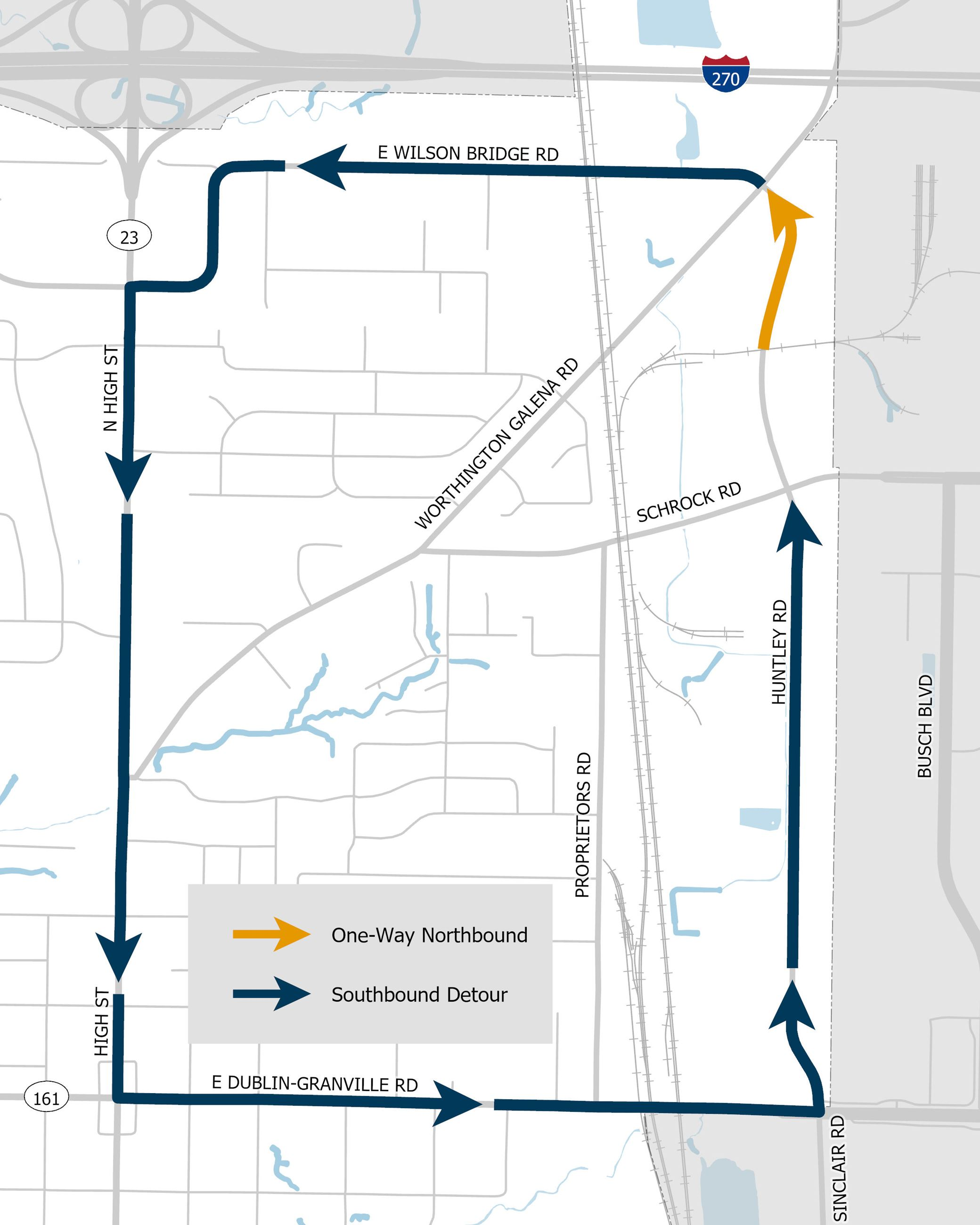 Huntley Road Detour Map