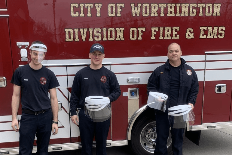 Fire department face shield donation