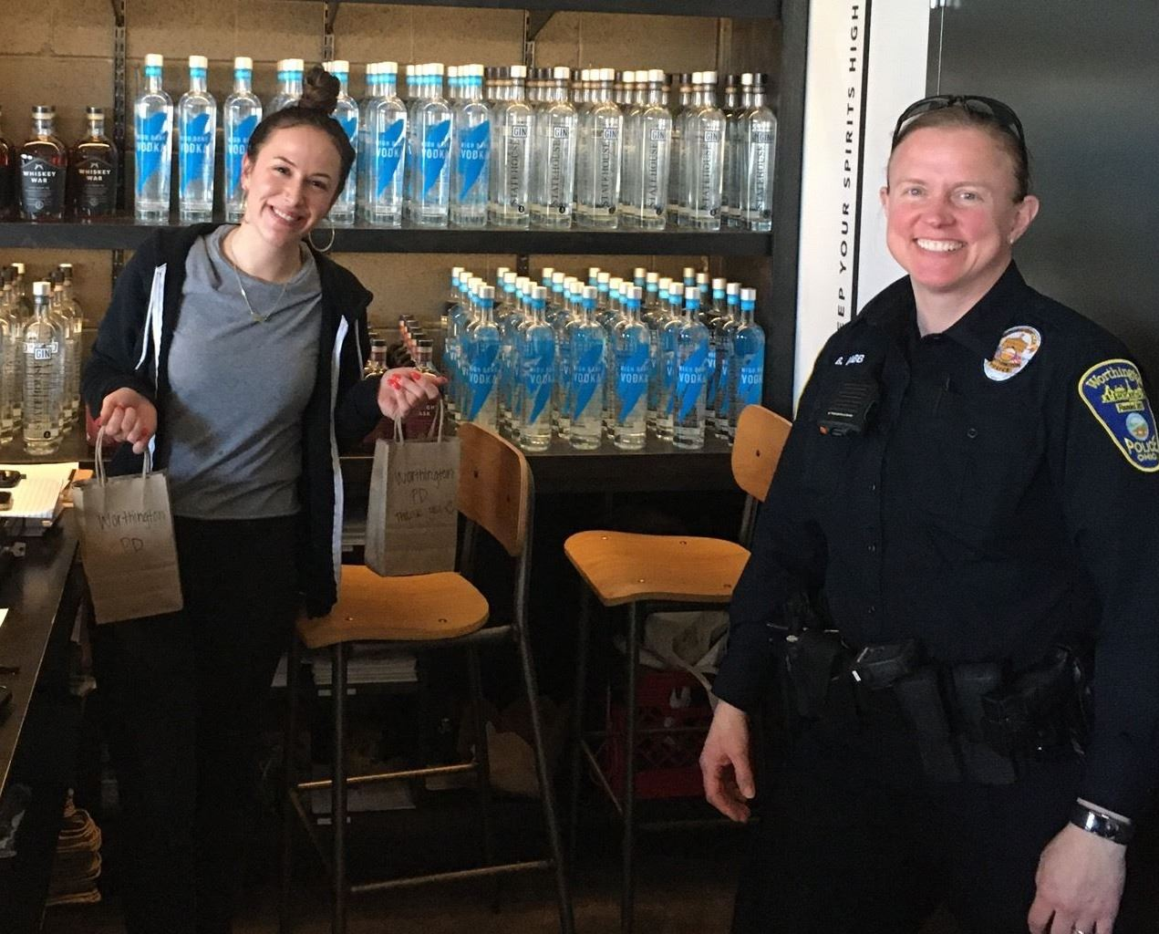 PD Hand Sanitizer donation at High Bank Distillery 04-02-20