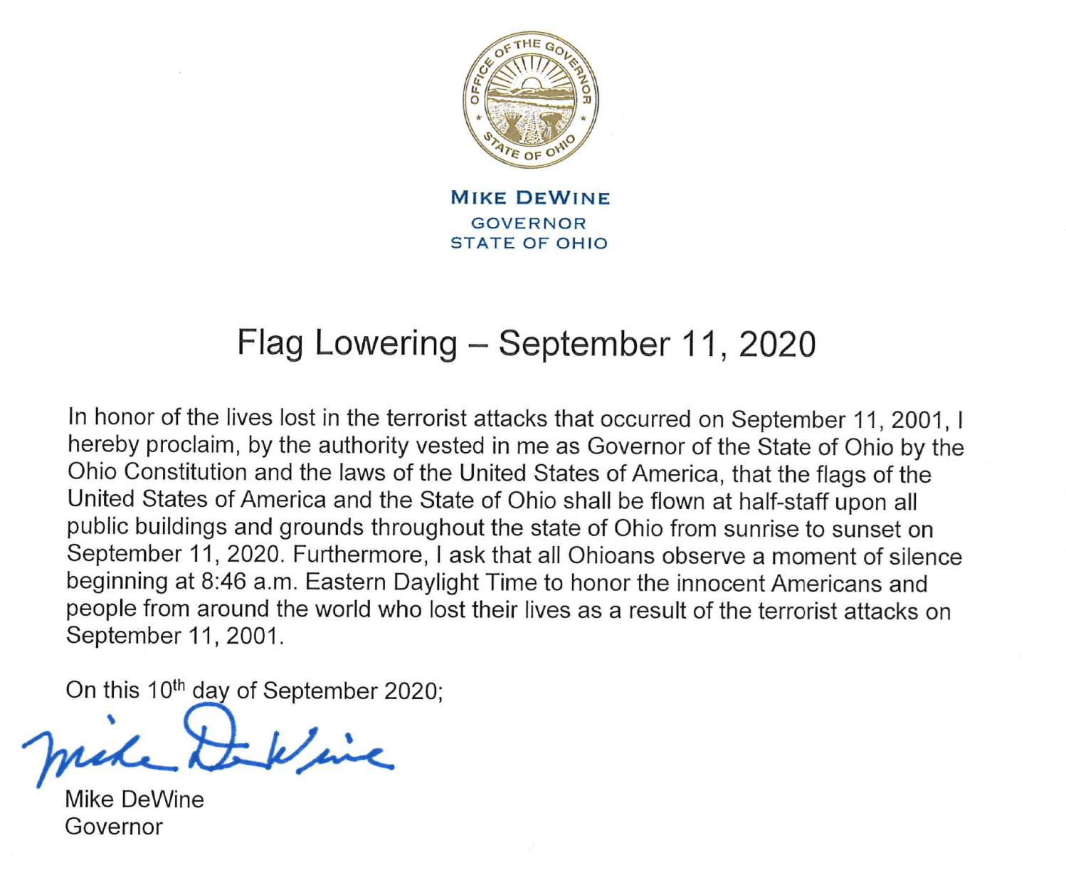 Governor DeWine Patriot Day Flag Order