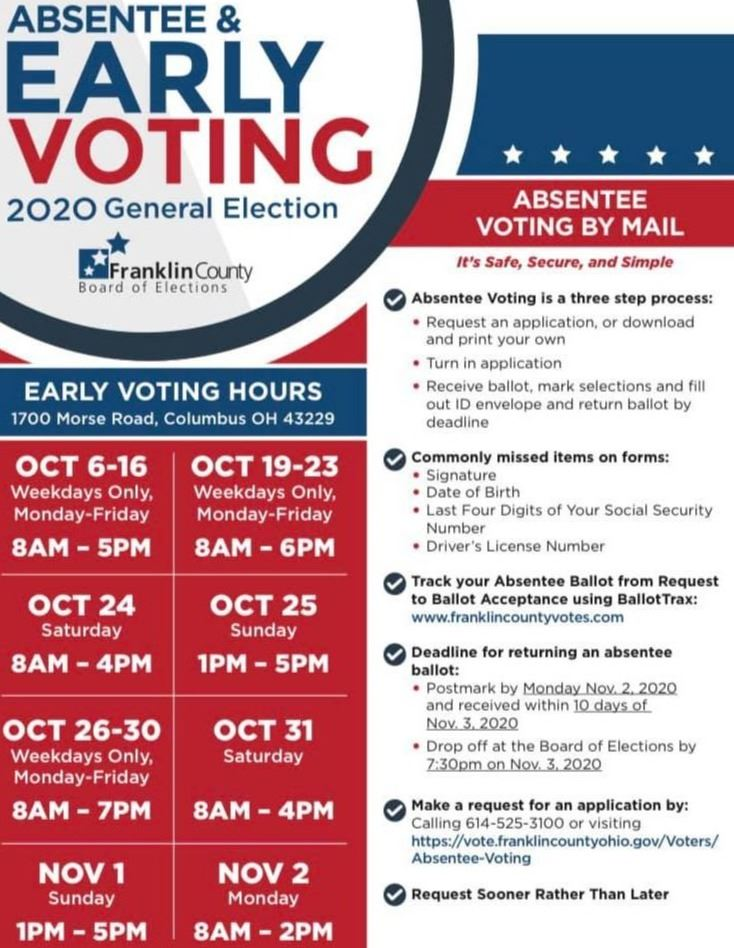 in person voting hours graphic
