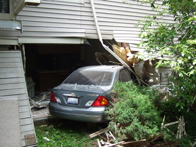 Car crashed into a structure